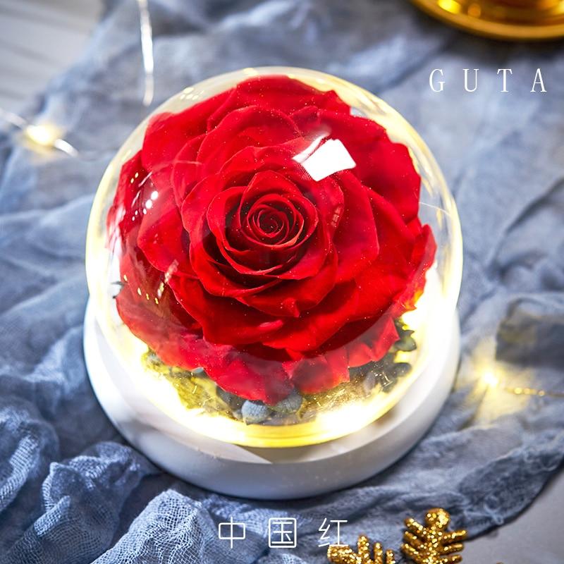 Вечная эксклюзивная Роза в стеклянном куполе Красавица и Чудовище Роза романтические подарки на день Святого Валентина подарок на Рождество подарки на праздник - Цвет: G09-A