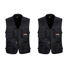 HOT-2 Pcs Men's Fishing Vest with Multi-Pocket Zip for Photography / Hunting / Travel Outdoor Sport