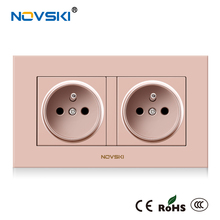 NOVSKI EU 16A French Electrical Double Wall Switch Socket Flame Retardant PC Panel AC110-250V Power Socket CE RoHS CCC certified electrical flame