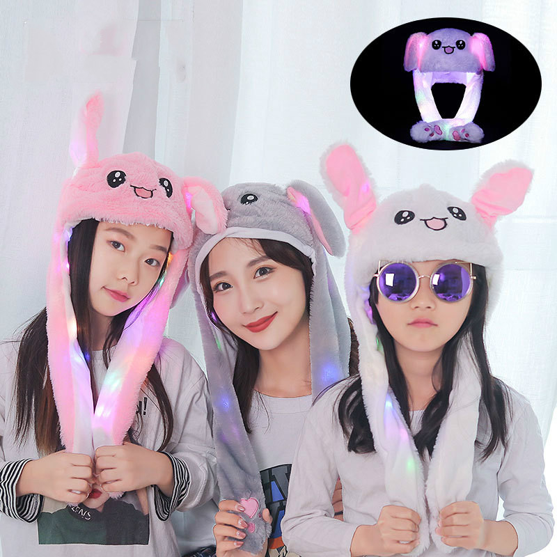 Parent-child LED Light Will Move The Ear Airbag Tremolo Cap Cartoon Glow Net Red Hat Cute Children's Hat
