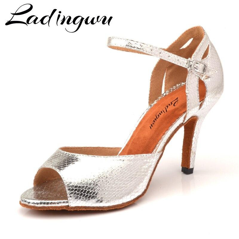 Ladingwu New Salsa Shoes Dance Women's Ballroom Dance Shoes Sandals  Party Performance women Latin Dance Shoes Silver Snake PU