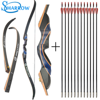 56inch 20 50ibs Recurve Bow Wood Riser With 12pcs 31inch Fiberglass Arrow Training Takedown Bow Archery Hunting Shooting|Bow & Arrow| |  -
