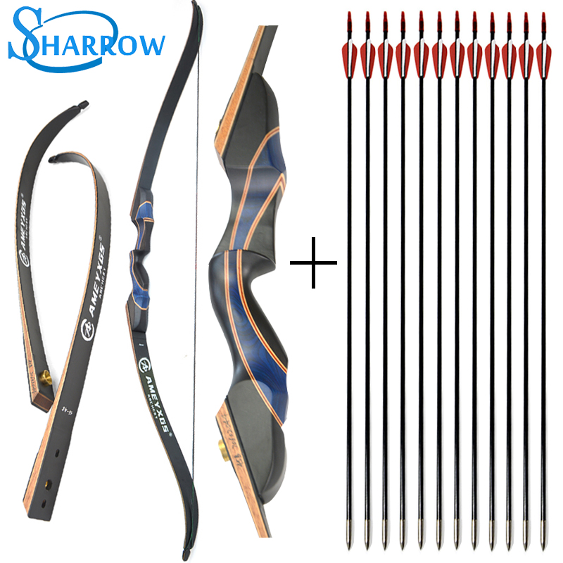 56inch 20-50ibs Recurve Bow Wood Riser With 12pcs 31inch Fiberglass Arrow Training Takedown Bow Archery Hunting Shooting image