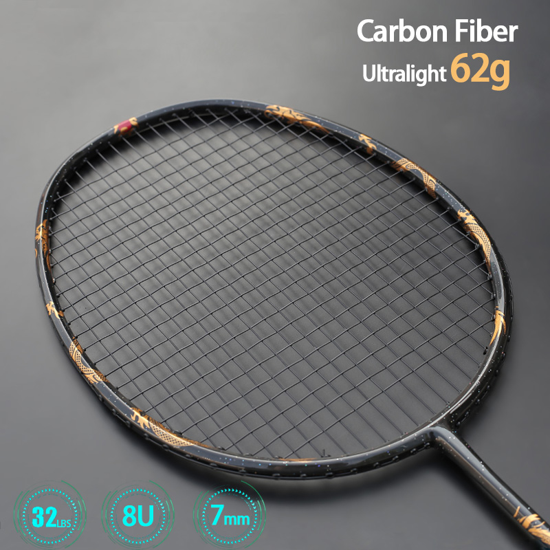 Ultralight 8U Dragon Phoenix PatternT800 Carbon Fiber Badminton Racket With String Bags Professonal Rackets Padel For Adoult Kid