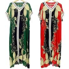 Women Dress Maxi Floral-Print Dashikiage Fashion for O-Neck Pom-Pom Colorful Noble
