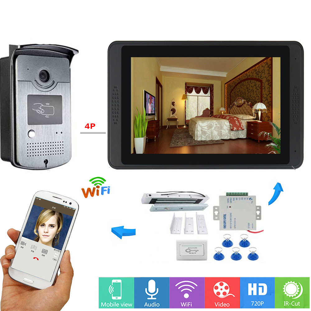 APP Control Video Intercom 7 Inch LCD Wifi Wireless Video Door Phone Doorbell RFID Speakephone Intercom KIT+Door Opening Lock