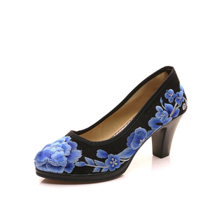 Image 5 - Veowalk/высококачественные атласные женские туфли лодочки с цветочной вышивкой Элегантные женские туфли в стиле ретро на среднем каблуке с круглым носком Zapatos Mujer