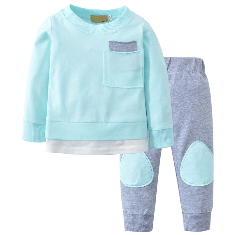 Spring 2Pcs Long Sleeve Baby Clothe Kids Clothes Toddler Baby Boys Girls Patchwork Tops+Pants Set Clothes Newborn Clothes
