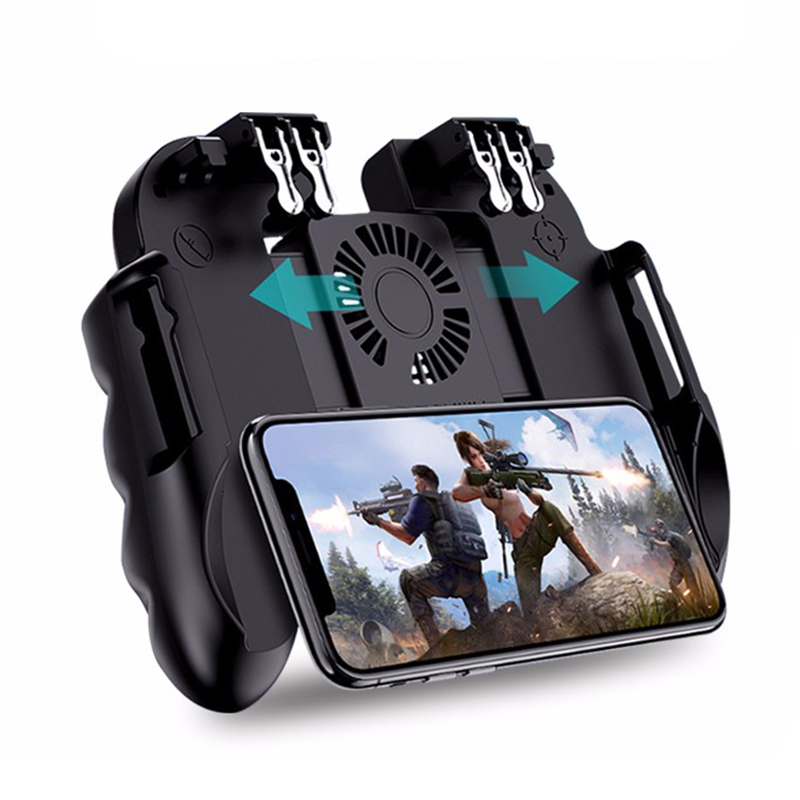 H9 Six Finger PUBG Game Controller Gamepad Trigger Shooting Free Fire Cooling Fan Gamepad Joystick For IOS Android Mobile Phone(China)