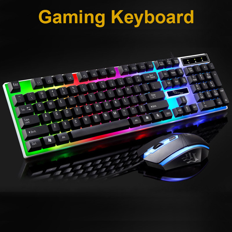 Erilles Wired Gaming Mechanical Feel Backlight Keyboard Mouse Combo USB Mice Flexible Polychromatic LED Lights Computer Gamer