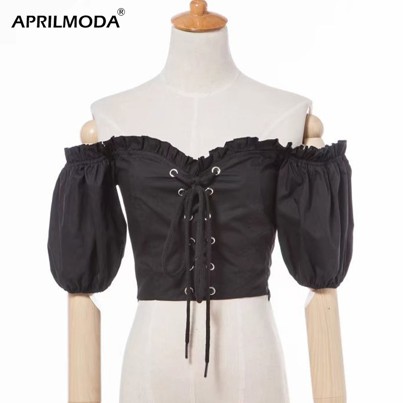 Gothic Blouses Shirts Women Puff Sleeve Slash Neck Ladies Tops Black Blouse Blusas Off Shoulder Lolita Victorian Blouse Mujer