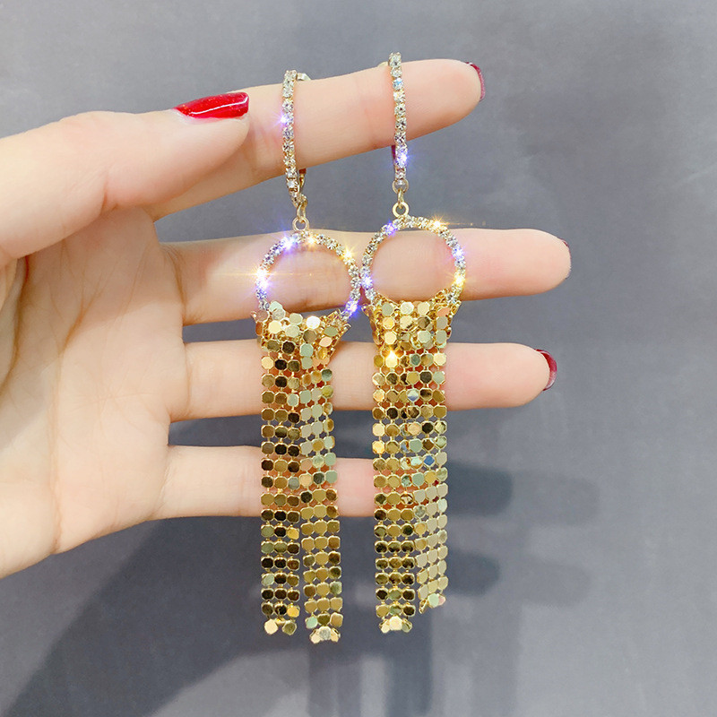 FYUAN Long Tassel Rhinestone Drop Earring for Women Bijoux Gold Silver Color Sequin Dangle Earrings Statement Earrings Jewelry in Drop Earrings from Jewelry Accessories