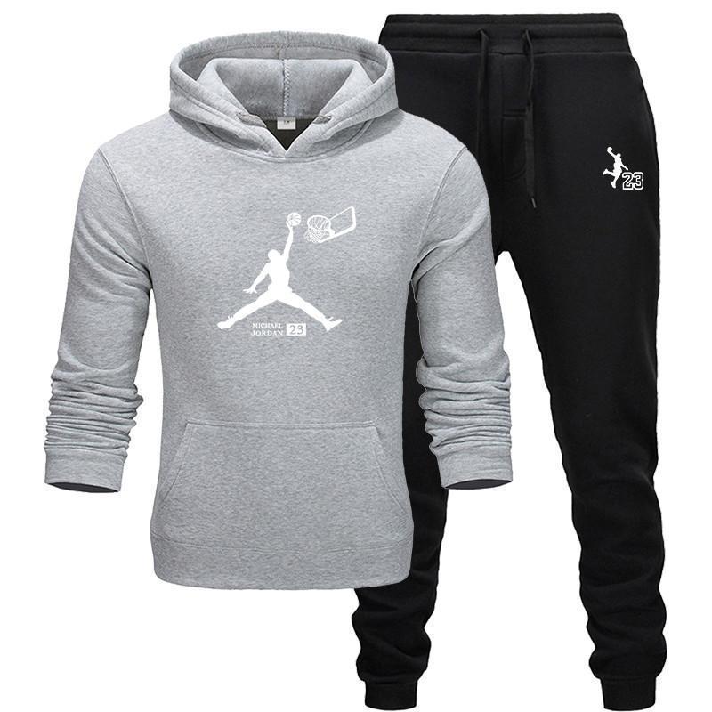 2019 men's fashion sportswear casual sports suit men's hoodie / sweatshirt + jogging sports pants JORDAN 23 printing jogging sui