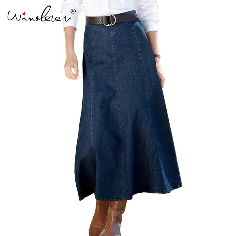 Spring 2020 Denim Skirt Women Jeans A-line Ankle-length Long Skirt No Belt Empire High Waist No Stretchy Plus Size S-3XL B01801W