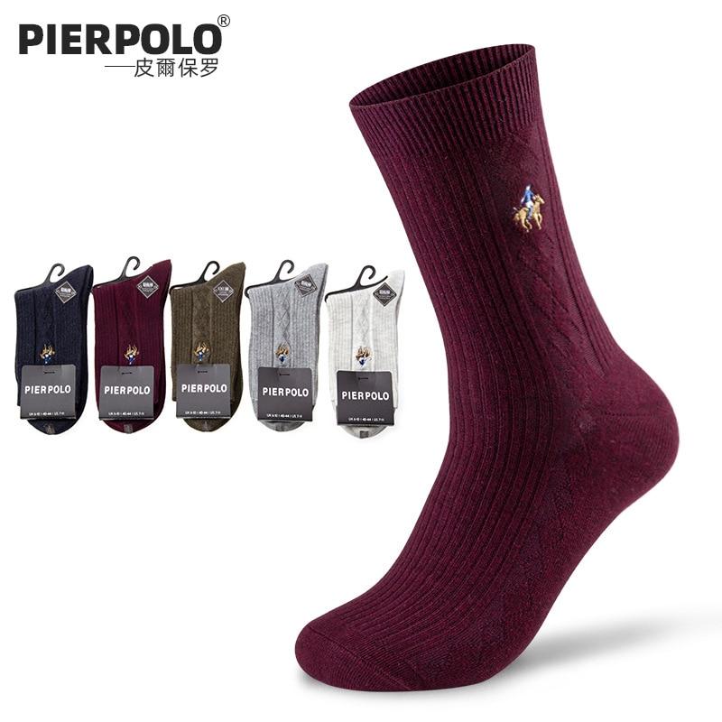 2019, PIERPOLO, одноцветные мужские носки, высокое качество, полосатые, с вышивкой, деловые, повседневные, дышащие, дезодорирующие, хлопковые