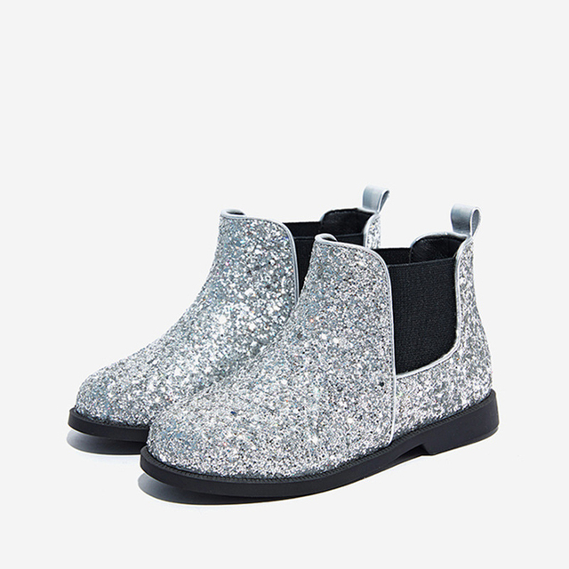 New Winter Kids Chelsea Boots Baby Girls Ankle Boots Children Warm Glitter Shoes Brand Princess Boots Fashion Black Soft Boots