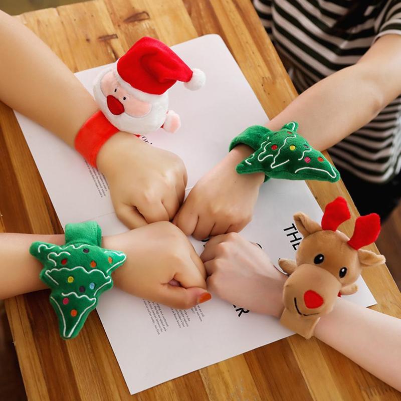 Christmas Patting Bracelet Short Plush PP Cotton Filled Iron Sheet Santa Claus Xmas Tree Deer New Year Toy Children Gift