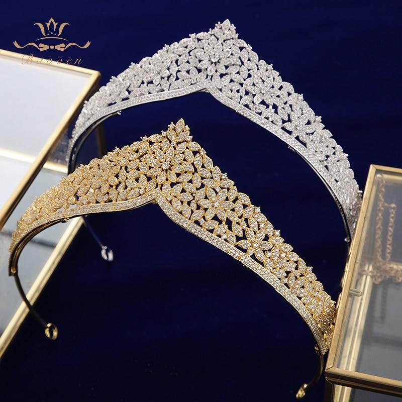 คุณภาพสูง Brides ยุโรปทองดอกไม้ Zircon Hairbands คริสตัล Tiara มงกุฎผมอุปกรณ์เสริมวันเกิดของขวัญ-ใน เครื่องประดับผม จาก อัญมณีและเครื่องประดับ บน AliExpress - 11.11_สิบเอ็ด สิบเอ็ดวันคนโสด 1