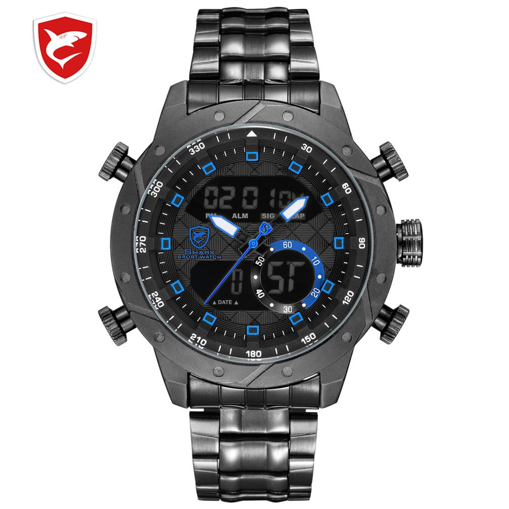 SH591 SHARK Luxury Brand Men Military Sport Watch Men Quartz Hour Alarm LCD Analog Digital Watch Male Black Steel Strap Clock