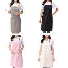 Barber Apron Canvas Hanging Neck Apron Unisex Kitchen Pinafore Hotel Restaurant Cafe Barber Shop Bakery Shop Waiter Work Uniform