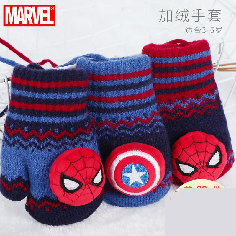 Original Spiderman Children's Gloves Disney Boys Fall Winter Plus Velvet Warm Lanyard Cartoon Toddler Kids Gloves