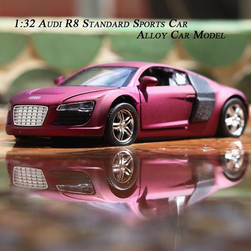 1:32 Audi R8 Quasi-Sports Alloy Car Model Class Distinguished Purple Matte Texture Decoration Collection Toys For Children