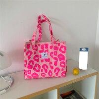 Bolso de compras reutilizable de tela ecológica para mujer, bolso grande de hombro informal, grande, lienzo impreso, rosa, leopardo, Vintage, 2021