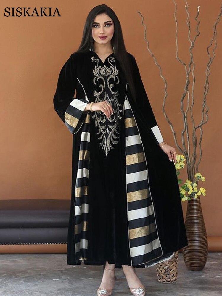 Vintage ethnique velours brodé Abaya Robe pour femmes ample grande taille cranté col montant marocain caftan Duabi Robe noir