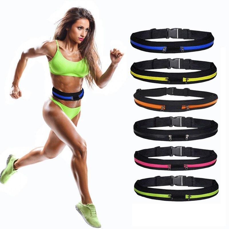 Women's Elastic Waistbelt Elastic Waist Support Belt Elastic Band Lumbar Back Sweat Belt Running Fitness Belt With 2 Waist Bag