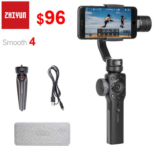 Zhiyun Smooth 4 3 Axis Handheld Smartphone Gimbal Stabilizer for iPhone 11 Pro XS XR X 8P Samsung S10 S9 S8 & other Smartphones