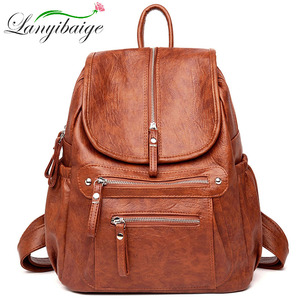 Image 1 - Women High quality leather Backpacks Vintage Female Shoulder Bag Sac a Dos Travel Ladies Bagpack Mochilas School Bags For Girls