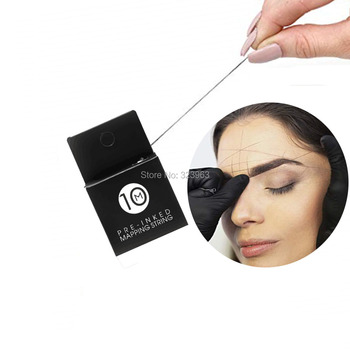 10 Meters Inked-Mapping String for Eyebrow Measuring Pre-inked Microblading String for Brow Natural Bamboo Charcoal Thread