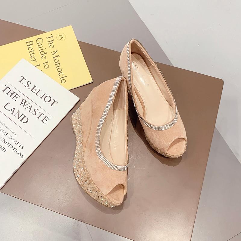 Купить с кэшбэком Wedge Peep Toe Rhinestone Women's Pumps NIUFUNI Waterproof Platform High Heels Shallow Boat Shoes Fashion Casual Women's Shoes