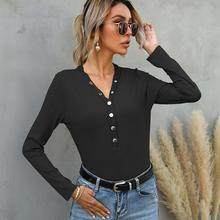 2021 Spring V Neck T Shirt Women Button Patchwork Solid Long Sleeve Slim Fit Bottoming Casual Female Tops