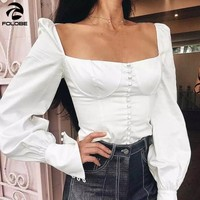FOLOBE 2019 Women Square Collar Backless Long Lantern Sleeve Lace up Bow Shirt Fashion Button Spring Summer Sexy Tops