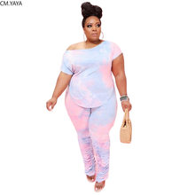 CM YAYA las mujeres de talla grande XL-5XL corbata tinte dibujo Camiseta de cuello barco tops apilado jogger pantalones traje de dos piezas conjunto juego de conjunto