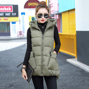 Image 4 - Winter Down Cotton Vest Women Red Gray Green Camouflage Hoodie Feather Waistcoat Long Paragraph Slim Warm Jacket colete feminino