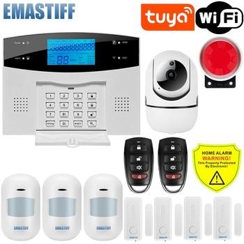 IOS Android APP Wired Wireless Home Security Tuya WIFI PSTN GSM Alarm System Intercom Remote Control Autodial Siren Sensor Kit 1