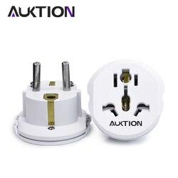 Universal 16A Euro converter Plug 2 Round Pin Socket AU US UK CN Plug To EU Wall Plug  AC 250V Travel Adapter High Quality Hot