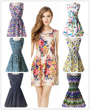 YOUNG VIVA Women Beach Short Dresses Sleeveless Sexy Loose Floral Print Vest Dress L001