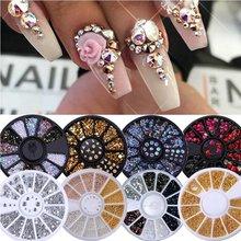 Mélange de cristaux colorés et de clous, argent et or, pour les ongles, perles 3D, décorations et accessoires de nail art, rangement en forme de roue