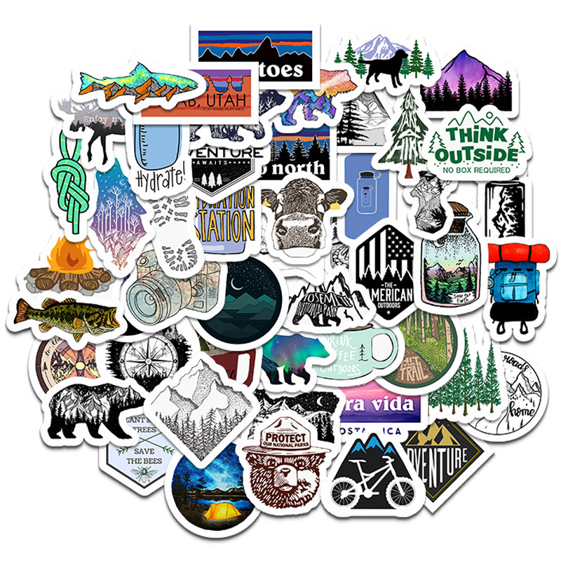 50PCS Camping Travel Stickers Wilderness Adventure Outdoor Landscape Waterproof Decal Sticker DIY Laptop Suitcase Motor Car F5