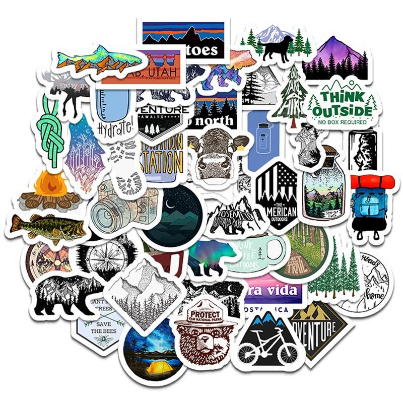50PCS Camping Travel Stickers Wilderness Adventure Outdoor Landscape Waterproof Decal Sticker DIY Laptop Suitcase Motor Car F5