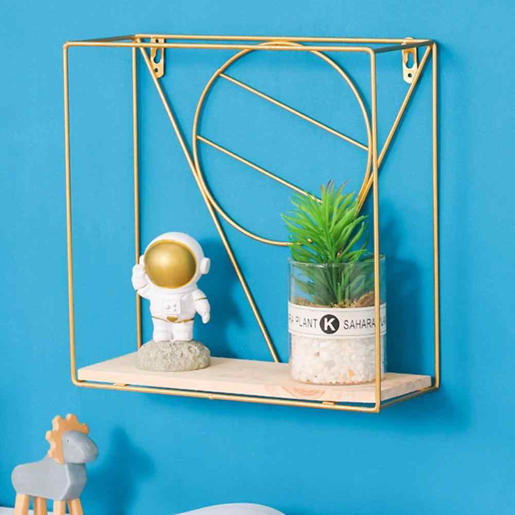 Estante de hierro para pared de madera estante de almacenamiento para montar en paredes Organización para la cocina dormitorio decoración del hogar sala de niños DIY soporte de decoración de pared