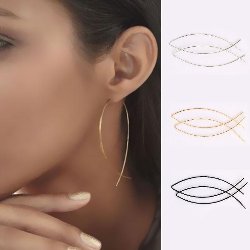 Fashion Women Girl Geometric Fish Shaped Earrings Simplicity Copper Wire Handmade Earring Brincos De Gota Feminino
