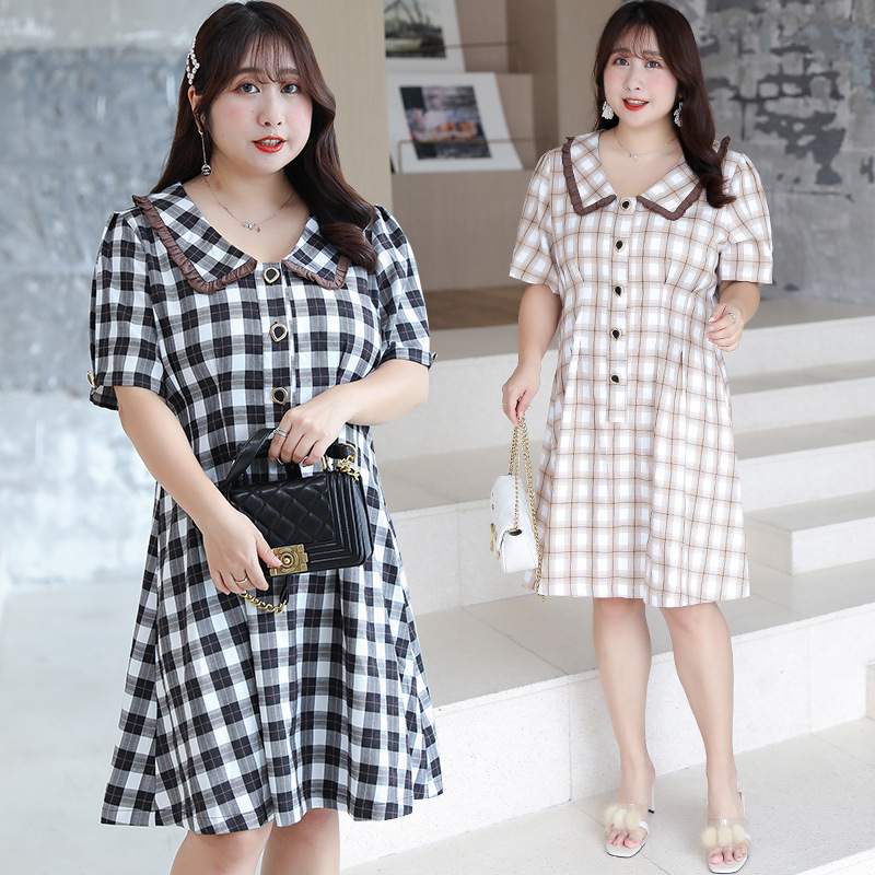 [Xuan Chen] Large GIRL'S Retro Peter Pan Collar Plaid Dress Summer New Style Slimming Waist Hugging Skirt A213