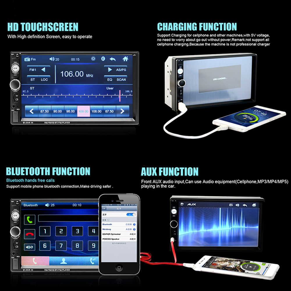 "Podofo 2 din araba radyo 7 ""HD Autoradio multimedya oynatıcı 2DIN dokunmatik ekran otomatik ses araba Stereo MP5 Bluetooth USB TF FM kamera"