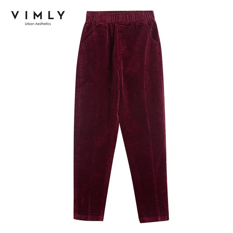 Женские узкие брюки-карандаш Vimly, элегантные однотонные офисные брюки с высокой талией, винтажные прямые брюки, осень 2020, 70118