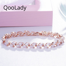 QooLady Brand Shining Marquise Cut CZ Crystal Leaf Rose Gold Bracelets Bangles for Women Prom Party Jewelry Accessories S006