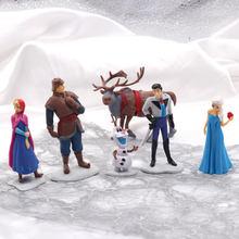Disney mrożone 2 księżniczka 6 sztuk 5-10cm Anna Elsa figurki Kristoff Sven Olaf model z pcv kolekcja lalek urodziny zabawki prezentowe